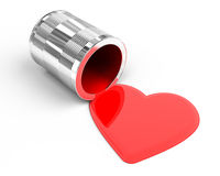 Heart shaped spilled paint Stock Image