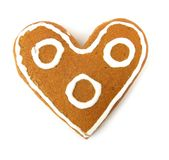 Heart-shaped sponge cake Stock Photos