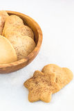 Heart-shaped and star-shaped cookies close-up on a white backgro Stock Image