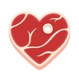 Heart shaped steak royalty free illustration