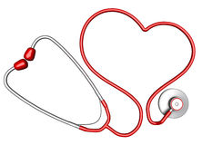 Heart-shaped stethoscope Stock Images
