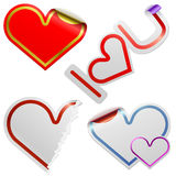 Heart shaped stickers Royalty Free Stock Photography