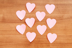 Heart shaped sticky notes Stock Images