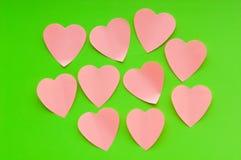 Heart shaped sticky notes Stock Photos