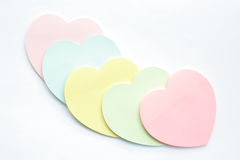 Heart shaped sticky notes Stock Photography