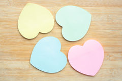Heart shaped sticky notes Royalty Free Stock Photos