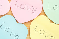 Heart shaped sticky notes Royalty Free Stock Images