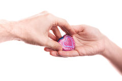 Heart shaped stone as a gift Stock Photography