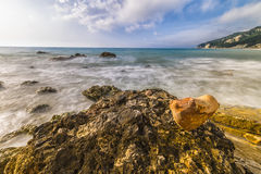 Heart-shaped stone at the Rocce nere beach at sunrise, Conero NP Stock Photography