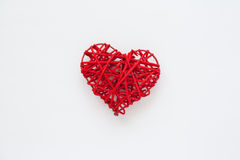Heart shaped straw. Valentine's Day Heart shaped straw. Red heart isolated on white Stock Images