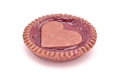 Heart shaped strawberries jam cookie pie shaped. Isolated stock images
