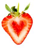 Heart shaped strawberry Stock Image