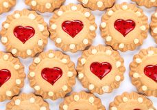 Heart shaped strawberry biscuit. Stock Photo