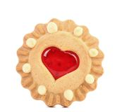 Heart shaped strawberry biscuit close up Royalty Free Stock Photography
