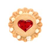 Heart shaped strawberry biscuit. Royalty Free Stock Images