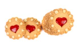 Heart shaped strawberry biscuit. Stock Image