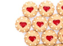 Heart shaped strawberry biscuit. Stock Images
