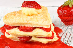 Heart shaped strawberry and custard millefeuille Royalty Free Stock Photos