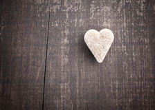 Heart-shaped sugar. On old wooden table Royalty Free Stock Image