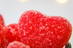 Heart shaped sugar candy in a bowl royalty free stock photography