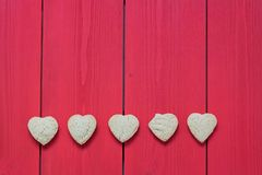 Heart shaped sugar cookies stock photos