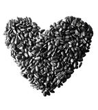 Heart shaped sunflower seeds Stock Photo