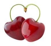 Heart-shaped sweet cherry Stock Photography