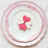 Heart shaped sweet cookies on a beautiful plate Royalty Free Stock Image