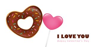 Heart shaped sweet donut with sprinkles and lollipop vector illustration