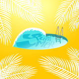 Heart shaped swimming pool with stairs Royalty Free Stock Images