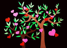 Heart-shaped symbol and tree Stock Images