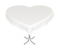 Heart-shaped table with cloth, with clipping path. Heart-shaped table with cloth, isolated on white with clipping path, 3d illustration Stock Image