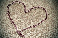 Heart-shaped taggtråd arkivfoto