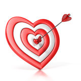 Heart shaped target with the arrow in the center. Isolated over white 3d illustration Royalty Free Stock Photography