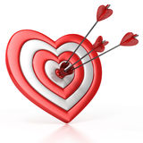 Heart shaped target with the arrow in the center. Isolated over white 3d illustration Stock Photography