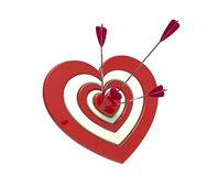 Heart shaped target and arrow Stock Images