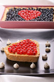 Heart-shaped Tart With Redcurrants Royalty Free Stock Photo