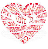 Heart-shaped text about what love is royalty free illustration