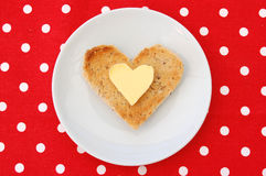 Heart shaped toast Royalty Free Stock Photography
