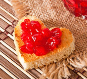 Heart-shaped toast Royalty Free Stock Photo