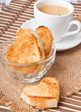 Heart-shaped toast Stock Photo