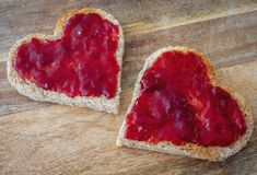 Heart shaped toast with jam royalty free stock images