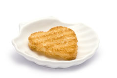 Heart-shaped Toast in Shell-shaped Dish Royalty Free Stock Photo