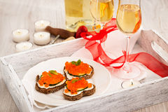 Heart Shaped Toasts With Red Caviar And White Wine Royalty Free Stock Image