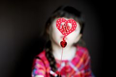 Heart shaped toy in child's hands Royalty Free Stock Photos