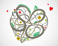Heart-shaped traffic map Royalty Free Stock Photo