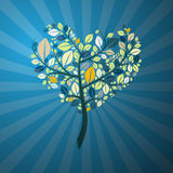 Heart Shaped Tree on Blue Background. Abstract Retro Heart Shaped Tree on Blue Background Royalty Free Stock Photo