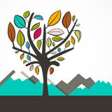 Heart Shaped Tree with Colorful Leaves Vector Royalty Free Stock Photos