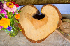 Heart Shaped Tree Crosscut Section Stock Image