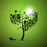 Heart-Shaped Tree on Green Background. Abstract Vector Heart-Shaped Tree on Green Background Royalty Free Stock Photos